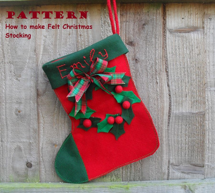 Personalised FELT Christmas Stocking -Sewing pattern - Puppets in a ...