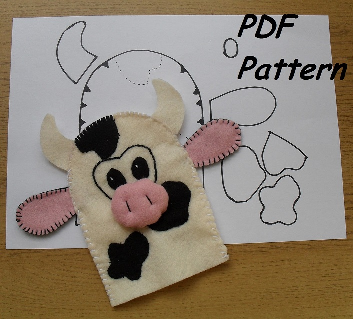 Cow-Hand Puppet -Sewing pattern - Puppets in a bag - custom made ...